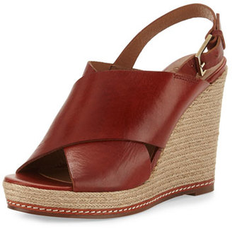 Andre Assous Cora Leather Espadrille Wedge Sandal, Burnt Sienna $229 thestylecure.com