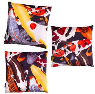 Arlette Ess Koi II Set of Three Multicolour Velvet Cushions