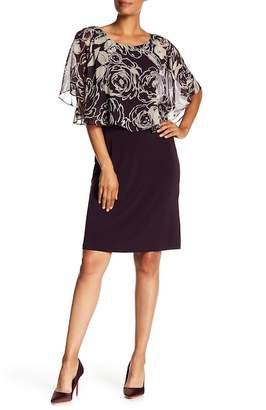 Connected Apparel Floral Printed Cape Overlay Dress