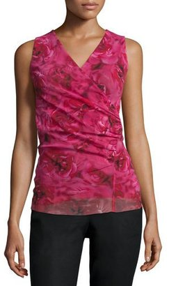 Fuzzi Sleeveless Rose-Print Ruched Top $285 thestylecure.com