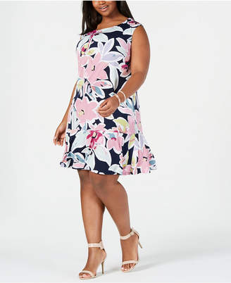 Connected Plus Size Floral Printed Drop-Waist Dress