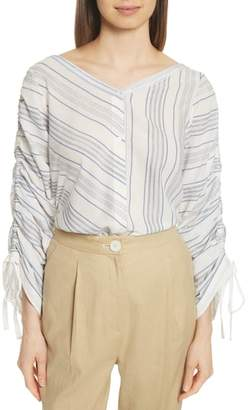 Robert Rodriguez Ruched Sleeve Stripe Shirt
