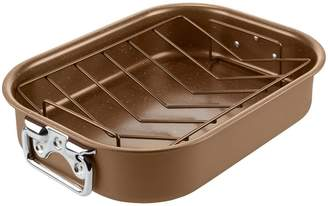 Tower Cerastone 2-Piece Non-Stick Roaster and Rack Set in Gold