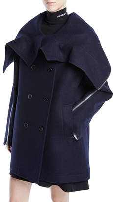 Calvin Klein Double-Breasted Wool Cape Jacket w/ Zipper Detail