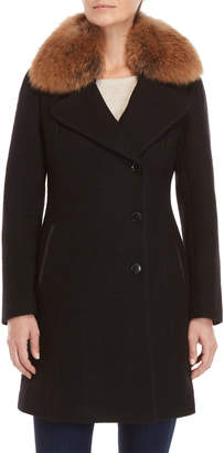 Soia & Kyo Textured Wool Real Fur Trim Double-Breasted Coat