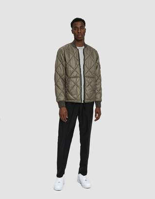 Stone Island Garment Dyed Quilted Micro Yarn Down Bomber Jacket in Olive