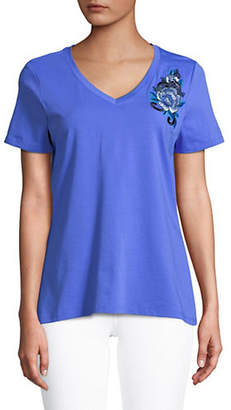 Isaac Mizrahi IMNYC Embroidered V-Neck Tee