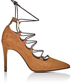 Barneys New York WOMEN'S SUEDE LACE-UP PUMPS-TOAST SIZE 5