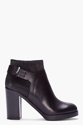 Givenchy black ribbed leather ankle boot