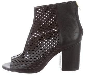 Ash Perforated Peep-Toe Ankle Boots