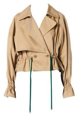Tibi Finn Twill Cropped Peplum Trench Jacket