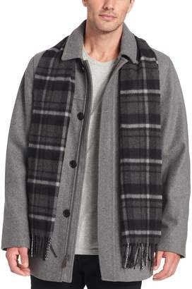 Dockers Men's Wool-Blend Walking Jacket with Plaid Scarf