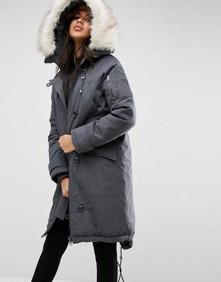 Asos Washed MA1 Parka with Faux Fur Lining