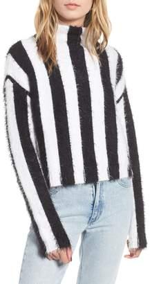 BLANKNYC Stripe Funnel Neck Eyelash Sweater
