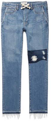 Remi Relief Slim-Fit Distressed Denim Drawstring Jeans