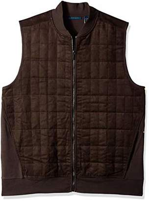 Perry Ellis Men's Big and Tall Quilted Faux Suede Full Zip Vest