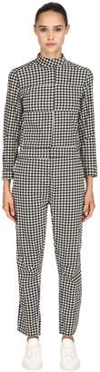 Houndstooth Denim Racer Jumpsuit