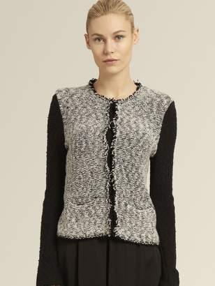 DKNY Colorblocked Tweed Cardigan