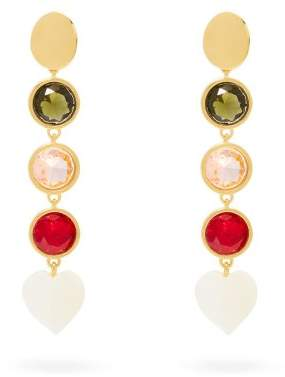 Lizzie Fortunato Nonna Gold Plated Crystal Earrings - Womens - Multi