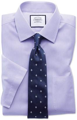 Charles Tyrwhitt Slim Fit Non-Iron Bengal Stripe Short Sleeve Lilac Cotton Formal Shirt Size 14.5/Short
