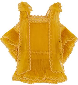 Chloé - Layered Plissé Silk-organza Top - Mustard