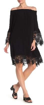 Hale Bob Off-the-Shoulder Crochet Lace Shift Dress