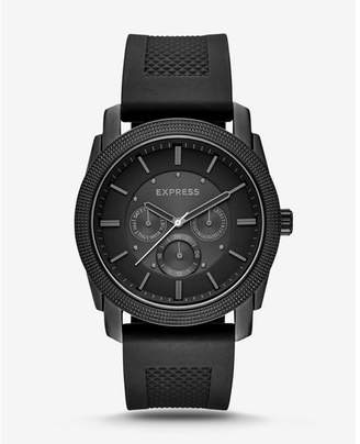 Express rivington textured silicone multifunction watch - black