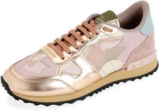 Valentino Rockrunner Low-Top Metallic Camo Sneakers