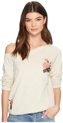 Lucky Brand Embroidered Rose Sweatshirt Women's Sweatshirt