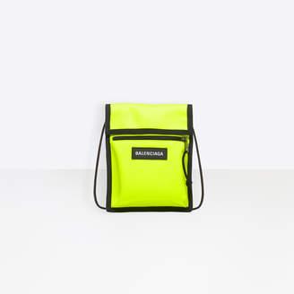 Balenciaga Explorer Pouch Strap Bag in acid green nylon with black and white logo label