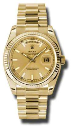 Rolex Day-Date President Yellow Gold Champagne Dial 36mm Watch $31,350 thestylecure.com