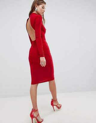 Club L High Neck Ruched Detailed Open Back Slinky Midi Dress