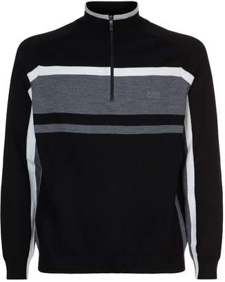 BOSS GREEN Half Zip Block Stripe Sweater