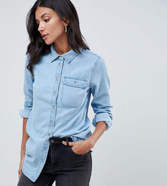 Asos Tall DESIGN Tall denim shirt with pocket in midwash blue
