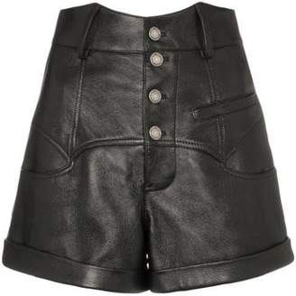 Saint Laurent high-waisted leather rock-and-roll shorts