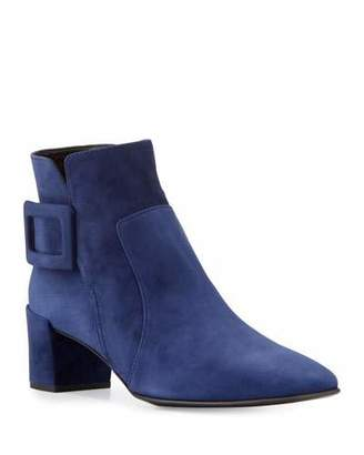 Roger Vivier Polly Suede Buckle Booties, Navy