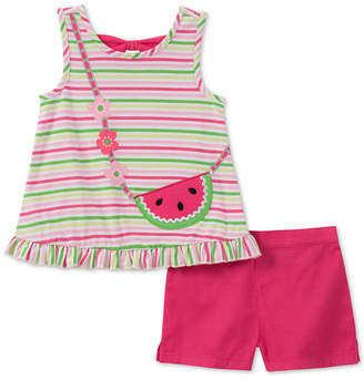 Kids Headquarters Baby Girls 2-Pc. Striped Top & Shorts Set
