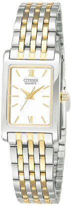 JCPenney Citizen Quartz Citizen Womens Rectangular Two-Tone Stainless Steel Bracelet Watch EJ5854-56A