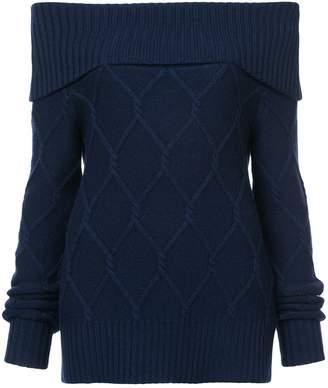 Oscar de la Renta off-the-shoulder cable knit sweater