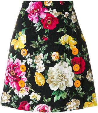 Dolce & Gabbana button floral skirt