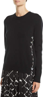 Marc Jacobs Button-Down Back Crewneck Wool-Cashmere Embellished Sweater