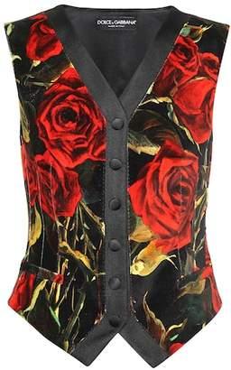 Dolce & Gabbana Floral velvet and silk vest