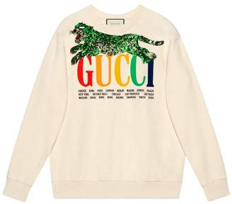 Gucci Oversize sweatshirt with Cities and tiger