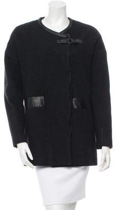 Comptoir des Cotonniers Leather Accented Wool Coat