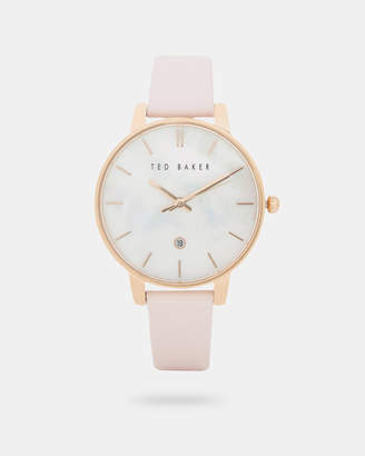 Ted Baker PERLS Pearl face leather strap watch
