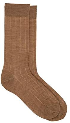 Barneys New York Men's Ribbed Wool-Cotton Mid-Calf Socks - Beige, Tan