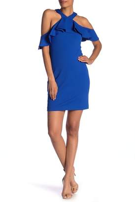 Trina Turk trina Jurnee Cold Shoulder Ruffle Sheath Dress