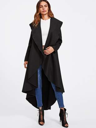 Shein Exaggerate Collar Curved High Low Coat