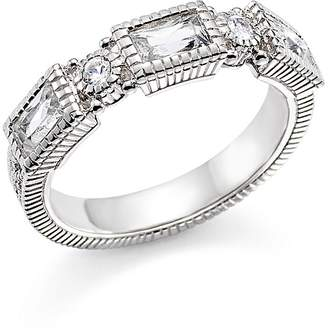 Judith Ripka Sterling Silver Narrow Estate 3 Baguette Band with White Topaz and White Sapphire