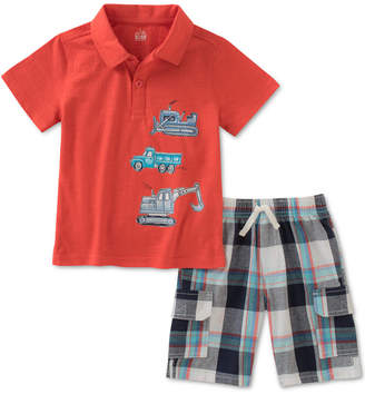 Kids Headquarters 2-Pc. Cotton Polo Shirt & Plaid Cargo Shorts Set, Baby Boys